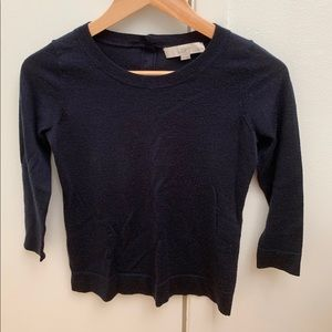 Loft Navy Sweater with Button Detail on Back